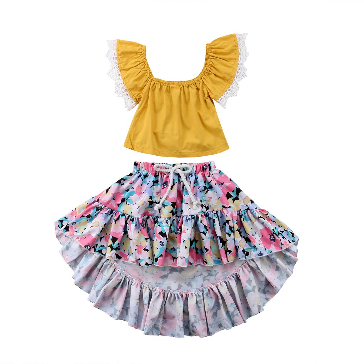 daf763454491 2019 Emmababy New 2018 Kids Baby Girl Summer Outfits Lace Fly Sleeve ...