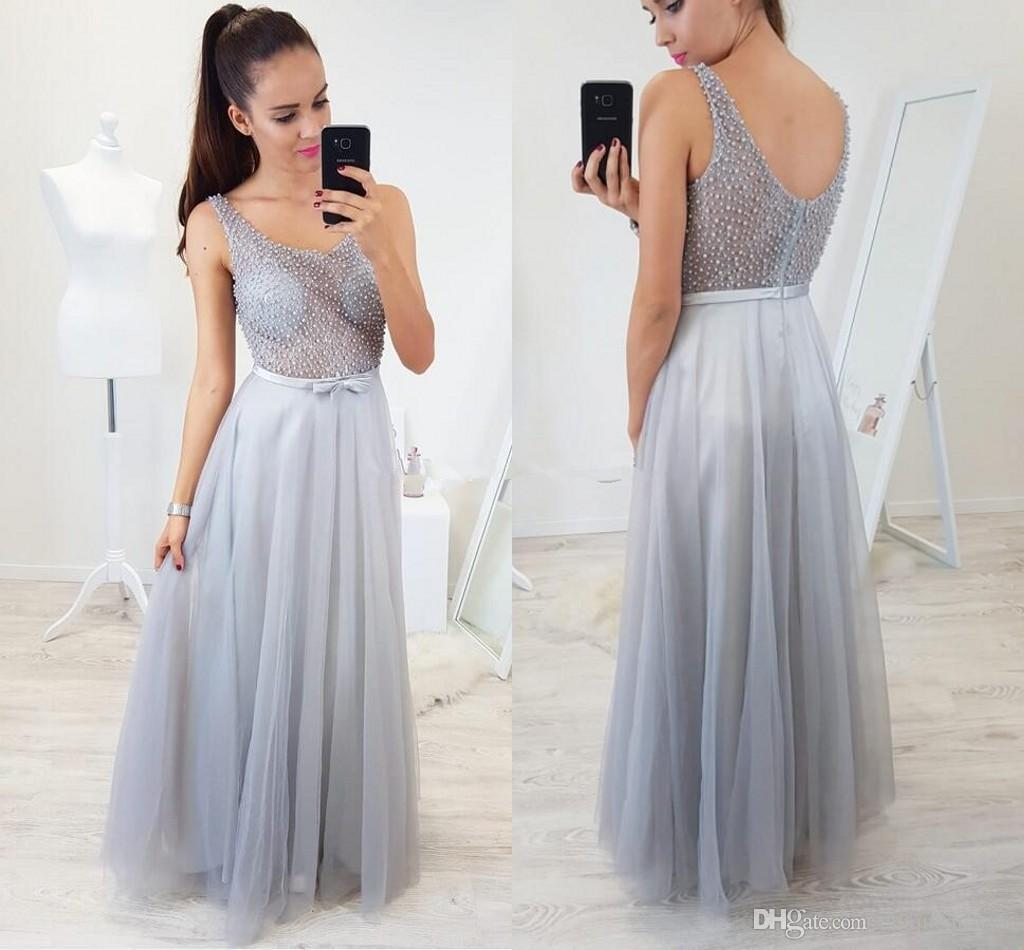 cf637346a Modest Silver Prom Dresses Long 2019 V Neck See Through Top Pearls A Line  Tulle Evening Party Gowns Robes De Soiree Consignment Prom Dresses Crazy  Prom ...