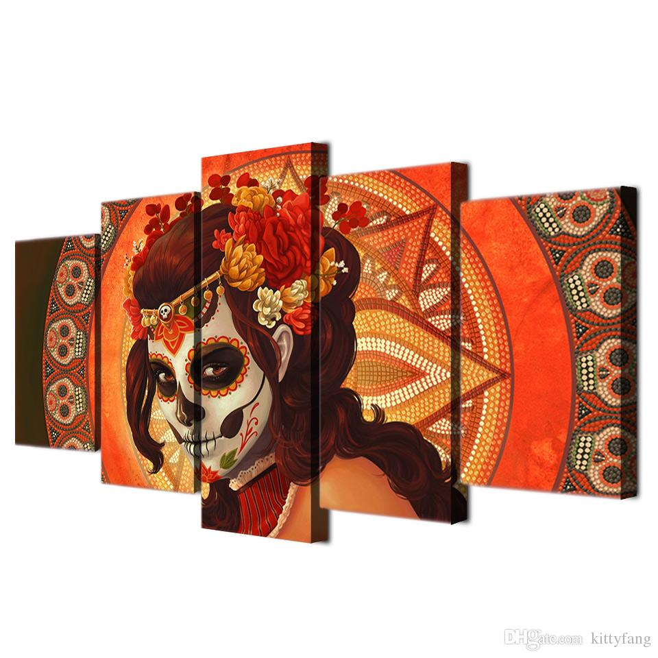 Framed HD Printed Day of The Dead Face Skull Canvas Painting Wall Art Prints Home Decor For Linving Room Art Picture