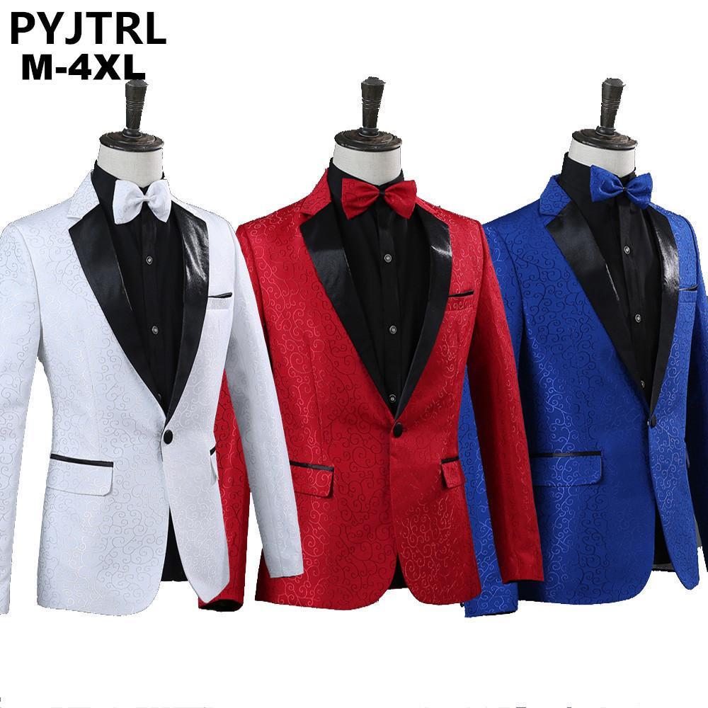 7e961032f0f PYJTRL Men Royal Blue White Red Jacquard Stage Costumes Singer Wedding Suit  Jacket Men Blazer Designs Jaqueta Masculino Slim Fit Suit Jacket Men Men  Blazer ...
