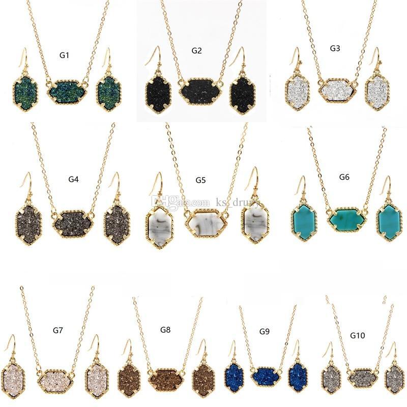 МИХАИЛ КЕНДРА 10 Цветов Позолоченные Drusy Druzy Ожерелье Серьги Падения Комплект Ювелирных Изделий Блеск Воротник Колье для Женщин