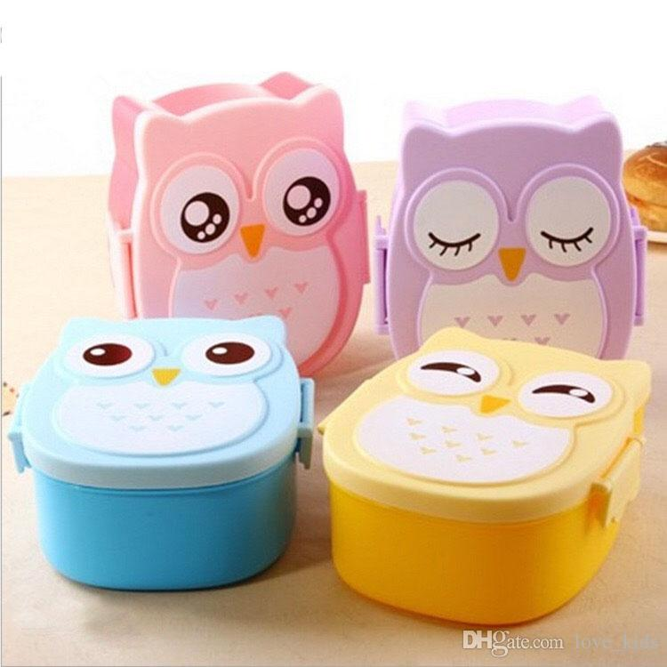 Lovely Cartoon Owl Lunchbox with spoon Bento Box Food Fruit Storage Container Plastic Lunch box Microwave Cutlery Set for Children