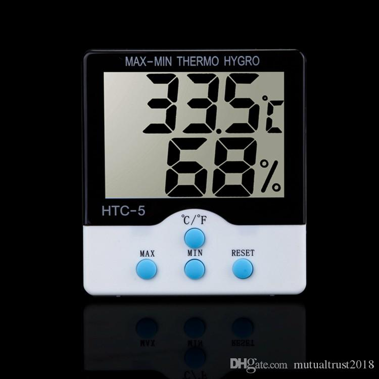 Digital LCD Thermometer Hygrometer Electronic Temperature Humidity Meter Home Kitchen Indoor Weather Station Tester Thermo-hygrometer HTC-5