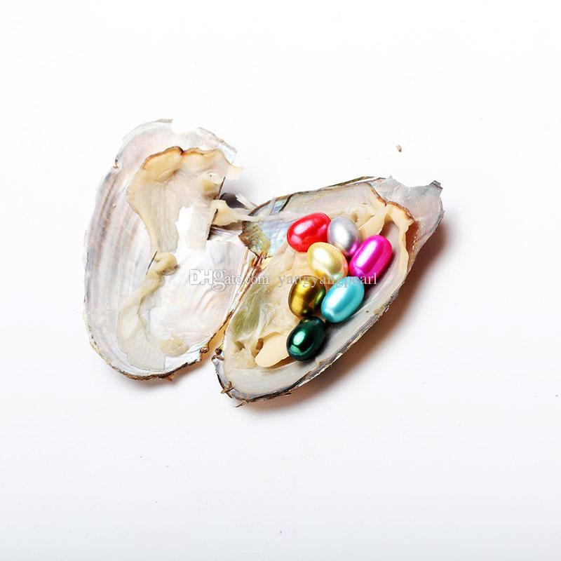 6-8mm 7 perlas de arroz ovaladas en materiales de concha de ostra de agua dulce para teñir joyas como regalo de Mystery Festival con paquete de vacío Envío gratis