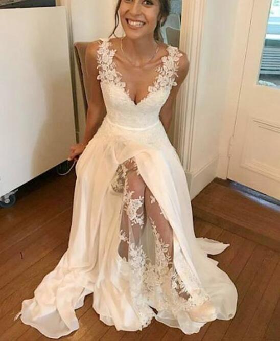 White Lace Evening Dresses