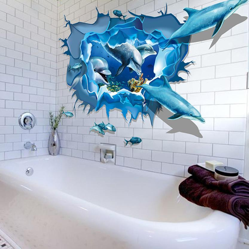 2018 Dolphin Broken Bathroom Stickers Wall Murals 3d Wall Stickers For Kids  Rooms Home Decorations On The Wall Decals Free Screensaver Wallpaper Free  ...