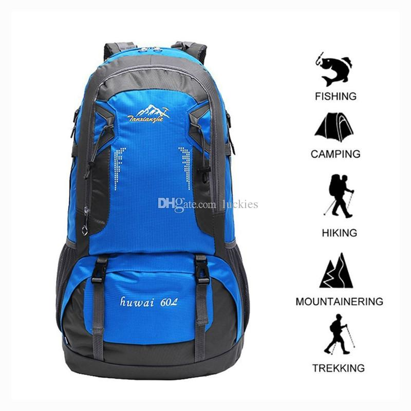60L Hiking Backpack Lightweight Waterproof Oxford Outdoor Backpack Super  Large Capacity Unisex Traveling Bag For Camping Backpacking Travel Big Bags  Rolling ... 53534f3efdcab