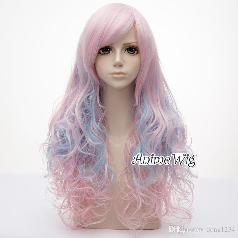 65cm Lolita Pink Mixed Blue Curly Bang Gradient Party +Wig Cap Ombre Wig  Cosplay Lace Wig Glue Wigs For Kids From Dong1234 720a67175