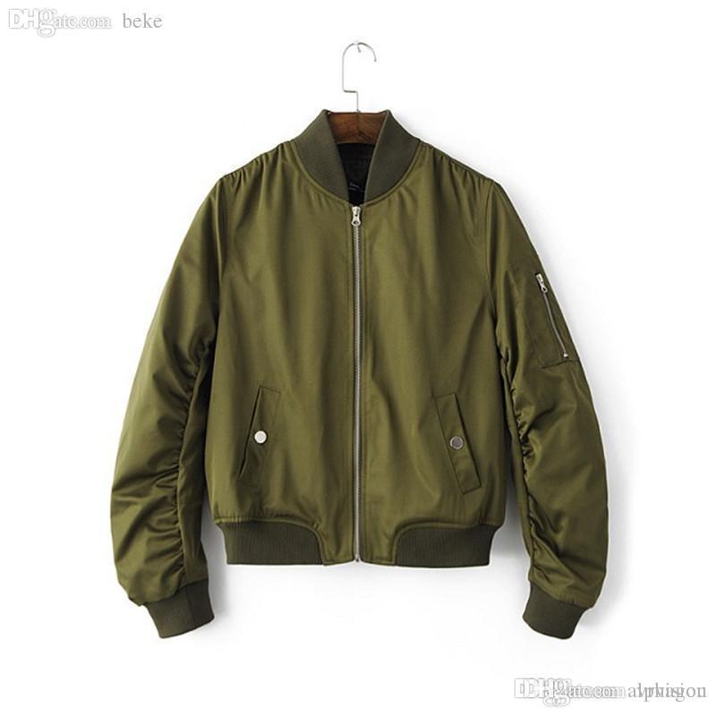 Wholesale Lady Biker Bomber Jacket Stand Collar Zipper Jacket Casual