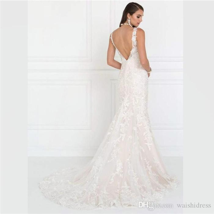 e93fedc9ea 2018 New Romantic White Lace Mermaid Wedding Dresses Beads Tulle Backless Wedding  Gowns Custom Made Simply Sweep Train Bridal Dresses Mermaid Wedding Dress  ...