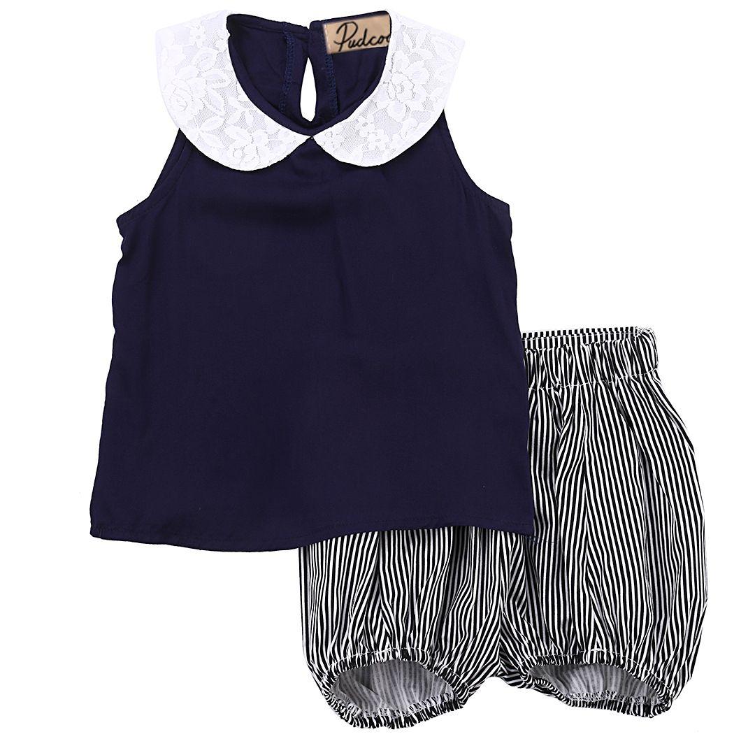 90e671b61 2019 Summer Kids Baby Girls T Shirt Vest Tops Sleeveless+Striped ...