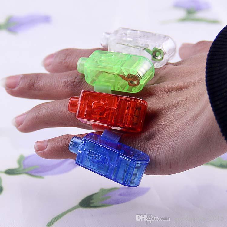 Lámpara del dedo del LED luces del anillo de dedo del resplandor del partido del dedo del laser de destello juguetes del cabrito es del regalo de Navidad a366