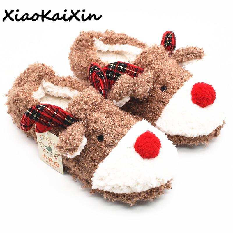 Women's Home Shoes That Can be Worn Outdoors 2018 Winter Warm Cotton Plush House Slippers Christmas Style Red Nose Reindeer Shoe
