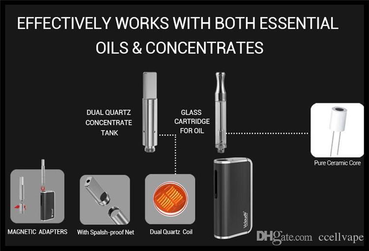 Função de pré-aquecimento 510 cartucho e cigarro vaporizador mod 1000mah bateria variável tensão de cera de fumar dab concentrados e kit queimador sólido