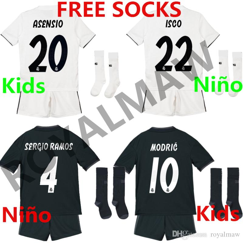 2019 Real Madrid Los Niños Camiseta De Futbol Kids Football Shirt Shorts  Socks Kit 2018 19 BALE ISCO ASENSIO Home Away Children Uniform 1819 Top  Best ... 2afeb4da68514