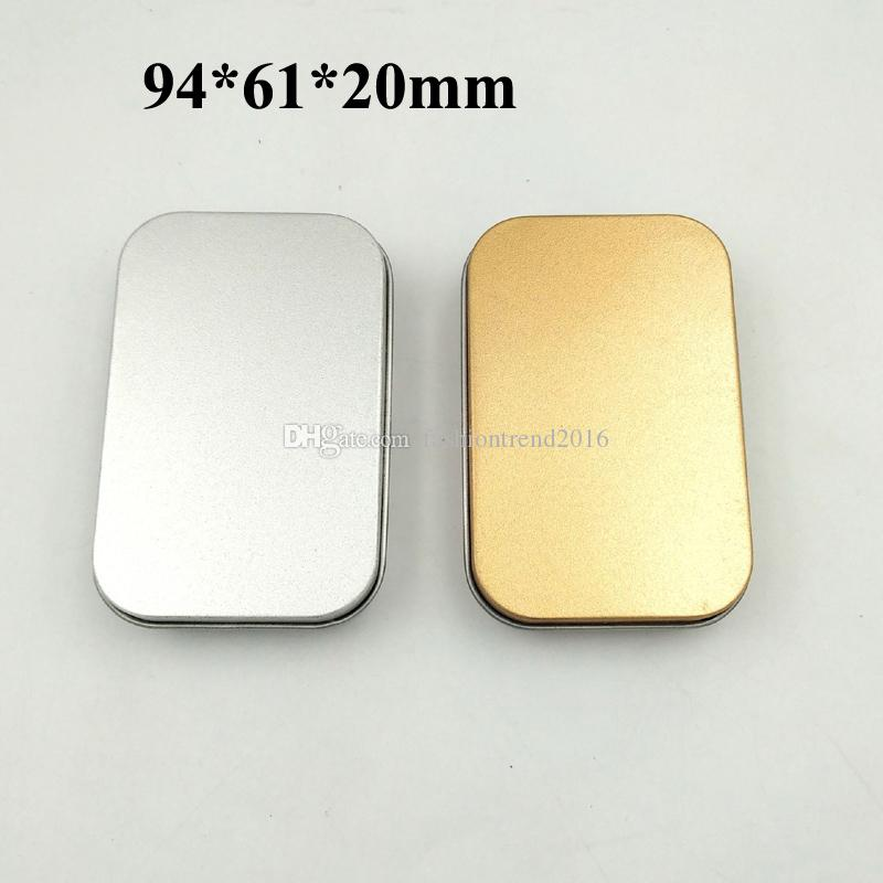 Tin Container Storage Box Silver Gold Color Metal Rectangle Packing