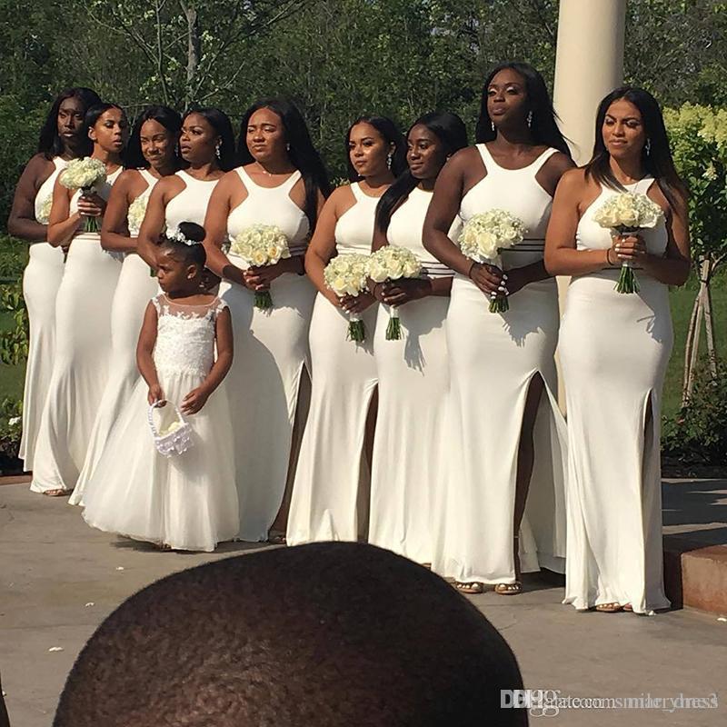 e4d7aab665c40 Sexy Bridesmaids Dresses Cheap White Mermaid African Wedding Guest Dress  Side Split Plus Size Bridesmaid Dresses For Black Girls SB079 Copper  Bridesmaid ...