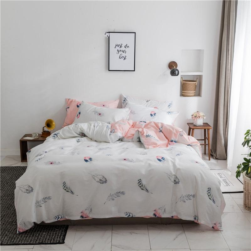 Leaf Bedding Teenage Girl Bedding Queen Size Bed Sheets Set Cover Duvet  Feather Printed Duvet Cover Sheet Pillowcase Teenage Bed Pretty Duvet  Covers ...