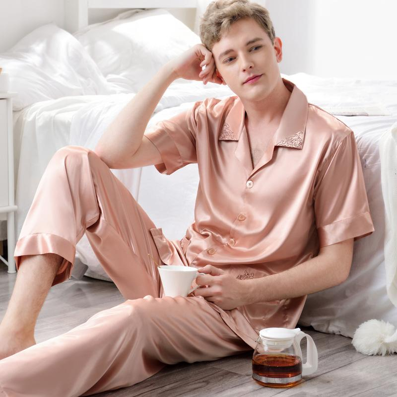 98c92d0452 2019 XFN Sexy Silk Men Pajamas 2018 NEW Short Sleeved Pajama Pants Sets  Pure Color High Quality Satin Silk Pyjama Lounge Set 3317 From Xiayuhe
