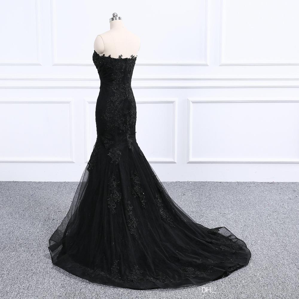 d76ebc8a26 Luxury Black Beades Lace Mermaid Prom Dresses Sexy Sweetheart Sleeveless  Elegant Evening Gowns 2018 Custom Sweep Train Party Gowns Prom Maxi Dresses  Prom ...