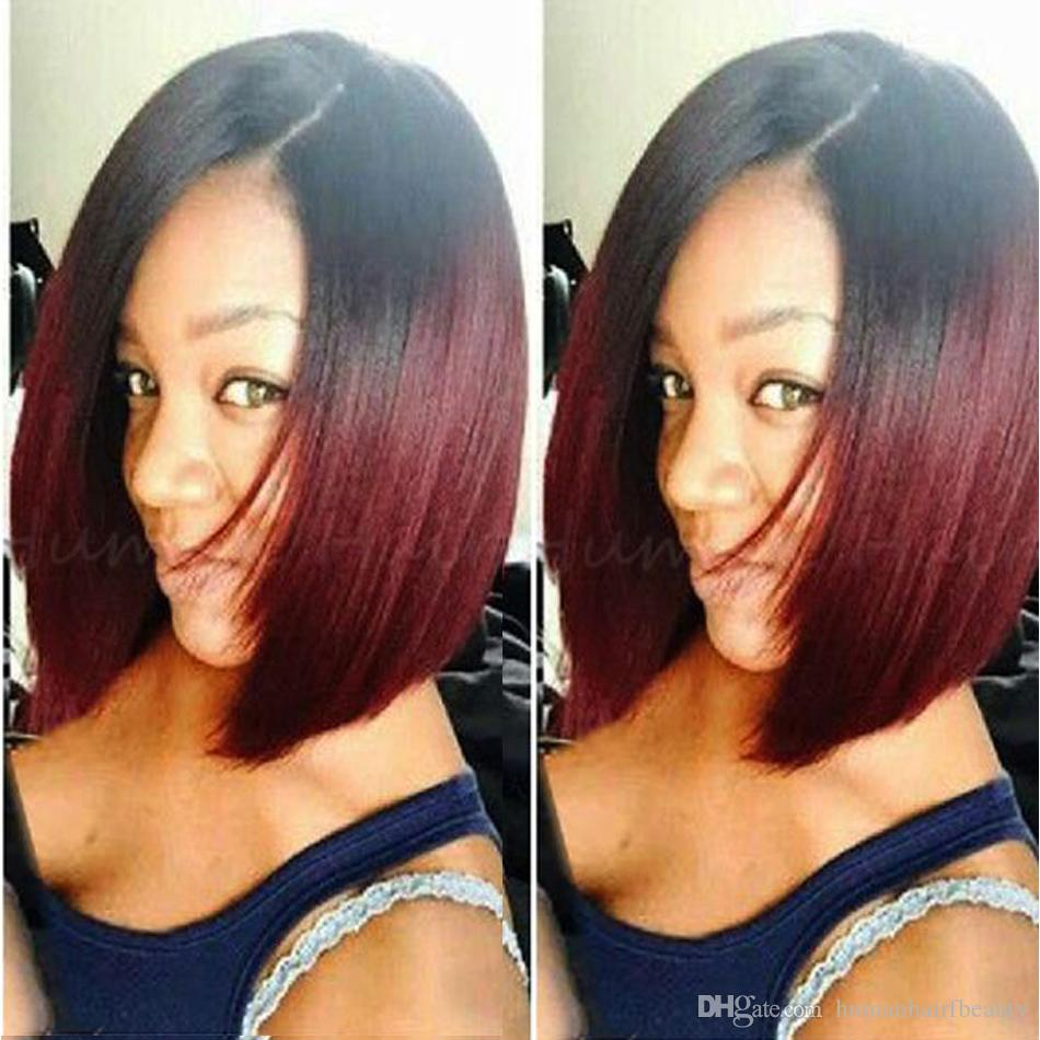 Full Lace Human Hair Wigs Bob Wigs Ombre Two Tone T1b Burgundy