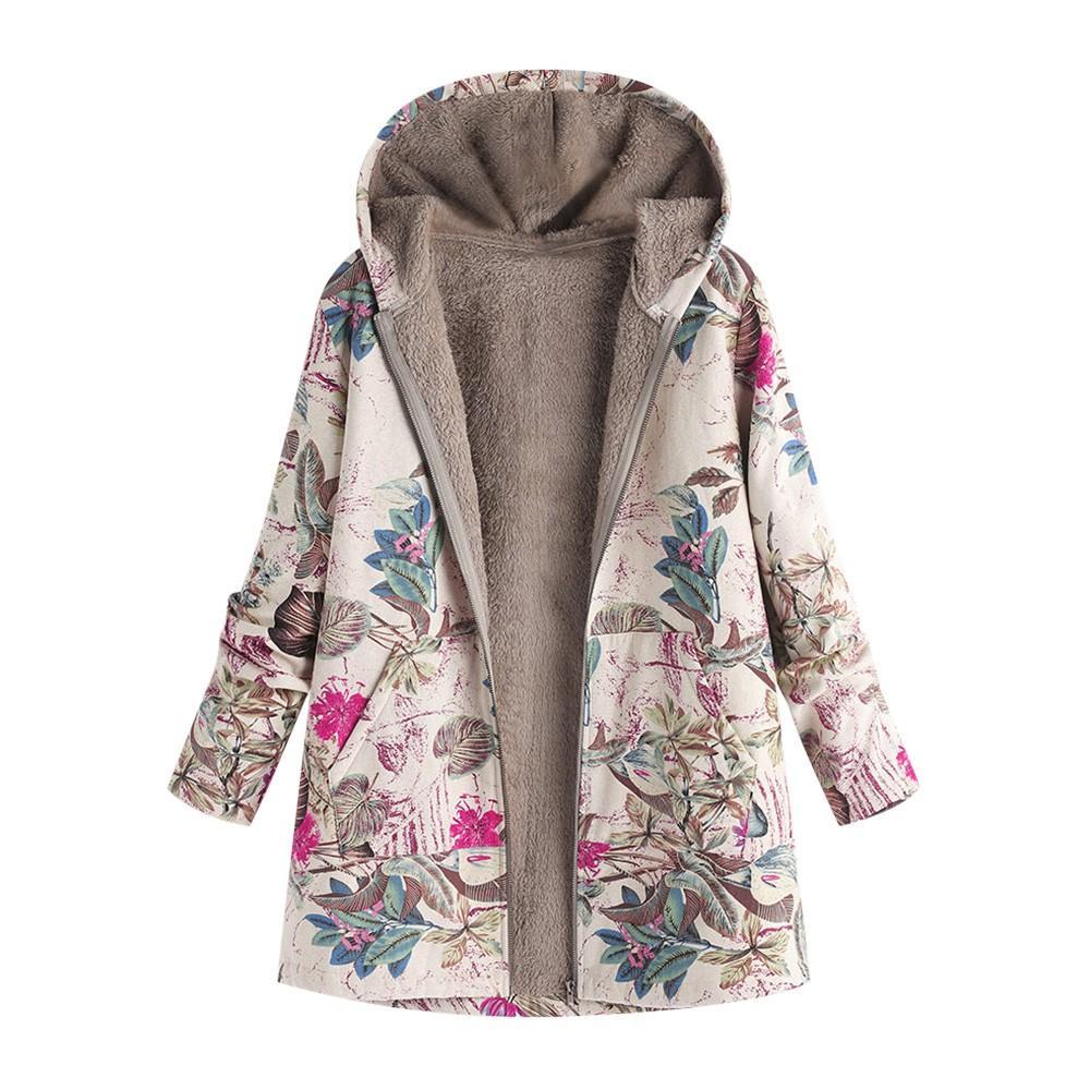 Plus Size Coat Lange Winterjacke Frauen Winter Warm Outwear Blumendruck Hooded Taschen Vintage Oversize Mäntel veste femme A8