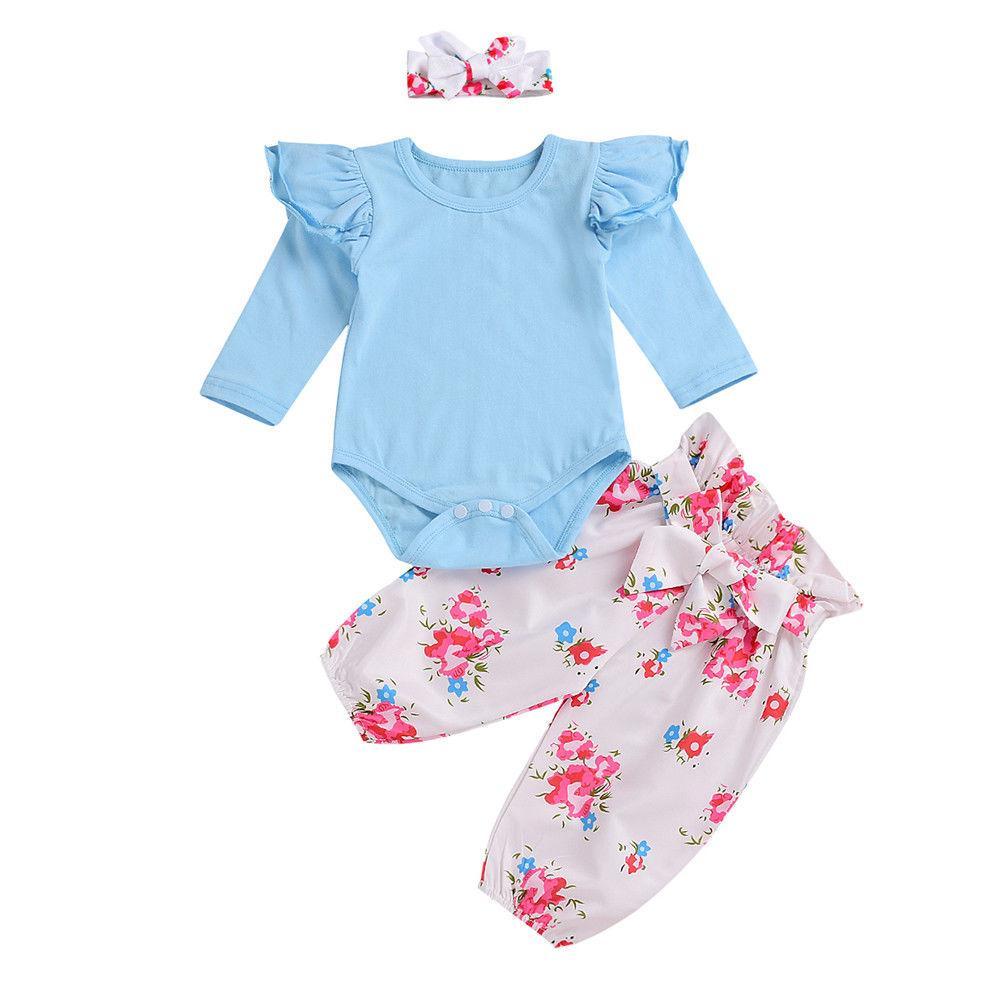 de31997d95d8 2019 Cute Newborn Baby Girl Ruffles Long Sleeve Solid Cotton Romper ...