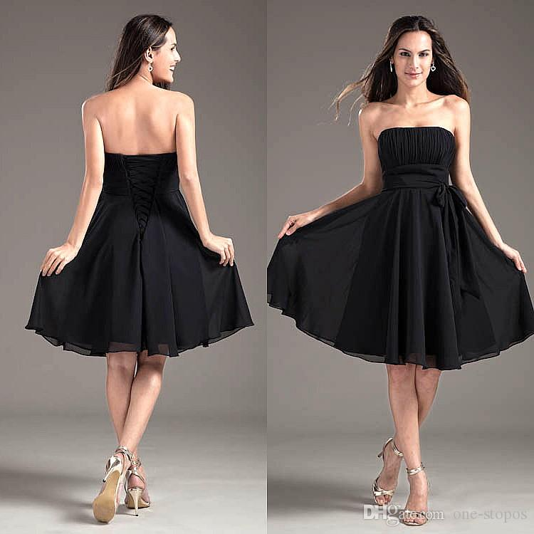 Strapless Little Black Dress Short Chiffon Bridesmaid Dresses