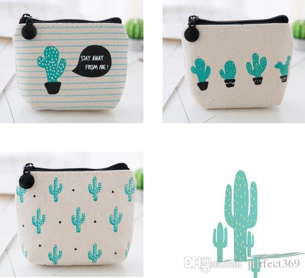 NEW Creative cactus printed Coin purse canvas key holder wallet hasp small Christmas gifts bag clutch handbag