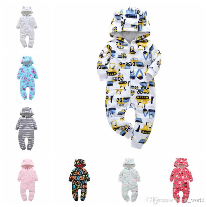 21b4f68d3 2019 INS Baby Rompers Baby Hooded Rompers Toddler Fleece Romper ...
