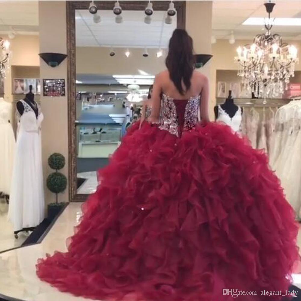 Luxury Dark Red Ball Gown Quinceanera Dresses Sweetheart Beaded and Sequin Cascading Ruffles Organza Prom Gown Puffy Girls Pageant Dress