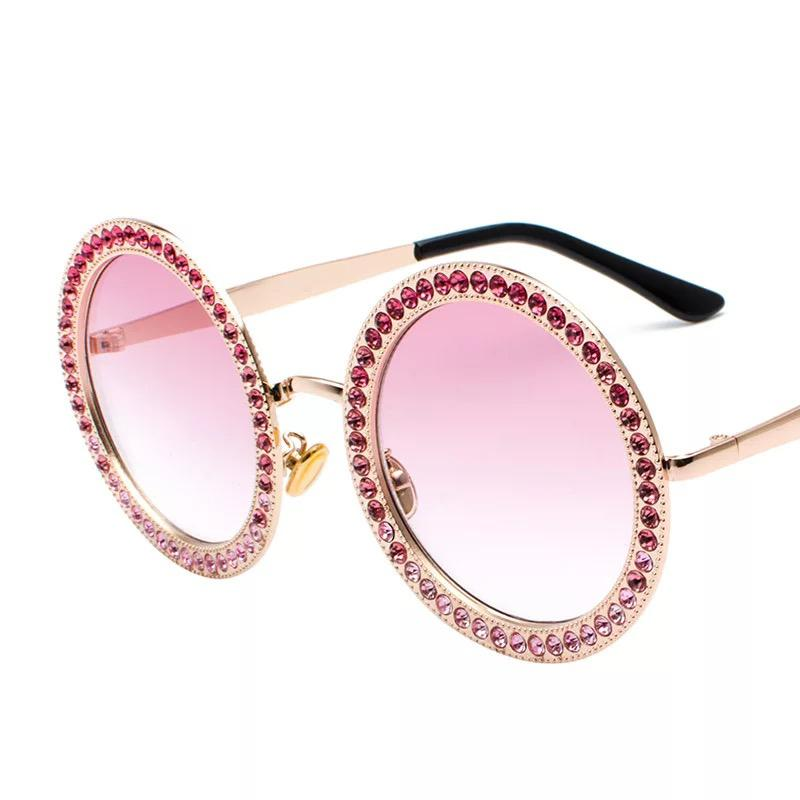 7f1096f3afeb Women s Designer Round Sunglasses Black With Crystal Stones Fashion Big  Metal Party Frame Pink UV Protecion With Case Wholesale Sunglasses For Men  ...