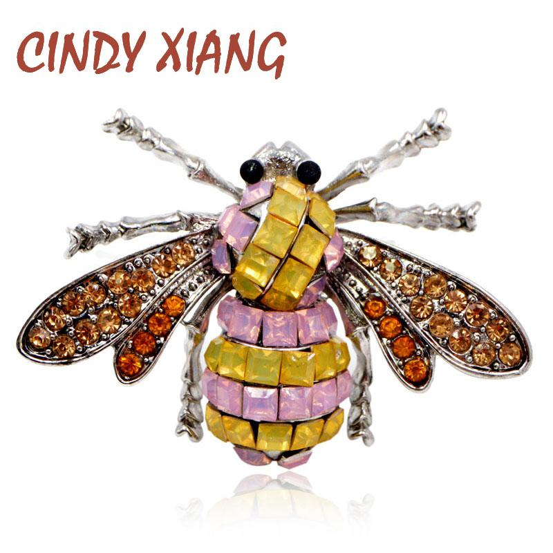 39beb805c0aca CINDY XIANG 3 Colors for Choose Rhinestone Colorful Bee Brooches for Women  Creative Insect Brooch Pin Honeybee Pin New Arrival