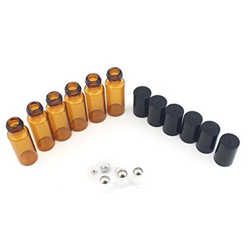 Taşınabilir 50 adet / grup 5 ml MINI ROLL ÜZERINDE Cam şişe parfüm PERFUME Amber Kahverengi CAM ŞIŞELER TEMEL OIL Çelik Metal Makaralı top
