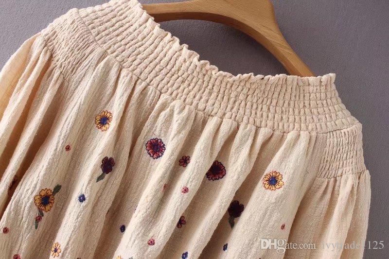 Euro Stil Kadın Giyim Slash Boyun Çiçek Nakış Fener Kol Bluz Lady Moda Üst Bluz Ücretsiz Gemi