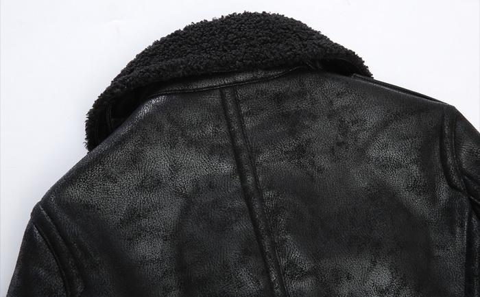 Pelz Leder Bomberjacke Männer Hohe Qualität PU Faux Militär Winter Fleece Dicke Vintage Jacken Mann