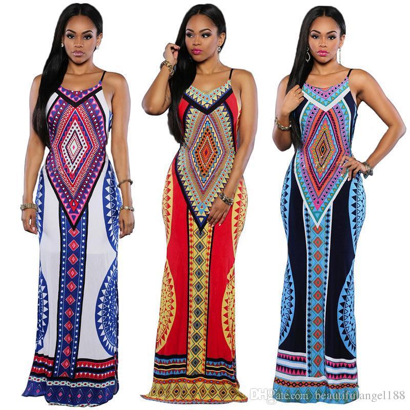 fd13dea2d9e 2019 2018 Sexy Backless Maxi Dresses Dashiki Dress Women S Tribal Ethnic  Style Sexy Slim Printing Halter Dress Long Skirt Plus Size From  Beautifulangel188