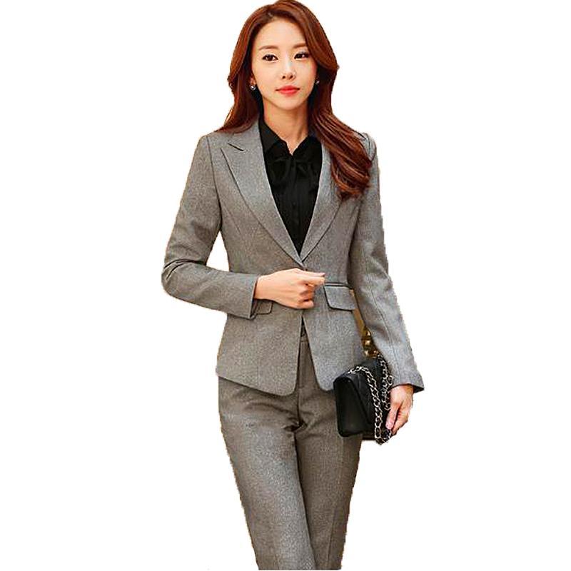 Acheter Costume Professionnel Coréen Costumes De Femmes Blazer Veste +  Pantalon + Jupe + Chemise 4,3,2 Pièces Ensembles Bleus De Bureau Costumes  Pour Femmes ... 2dd4cfc59997