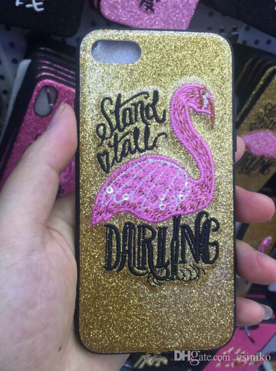 Nouveau Hot Flamingo TPU Glitter Téléphone Case Couverture Arrière Coques de Protection Coques pour iPhone X 8 7 6 Plus 4 Couleurs