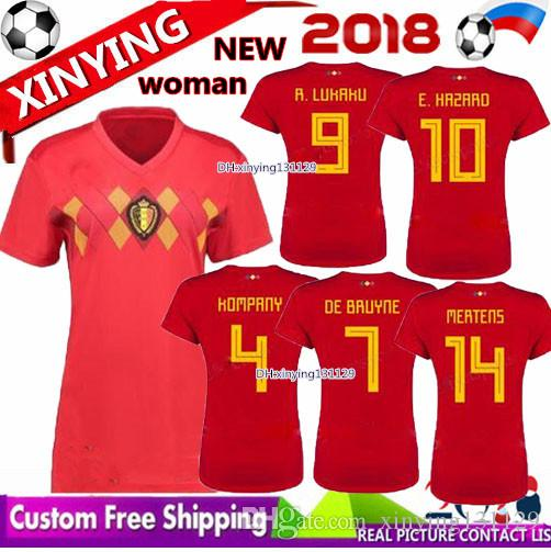 2019 Women 2018 World Cup Belgium Home Red Soccer Jersey LUKAKU FELLAINI E  HAZARD KOMPANY DE BRUYNE 18 19 Belgium Thailand Quality Football Shirt From  ... 41961027e