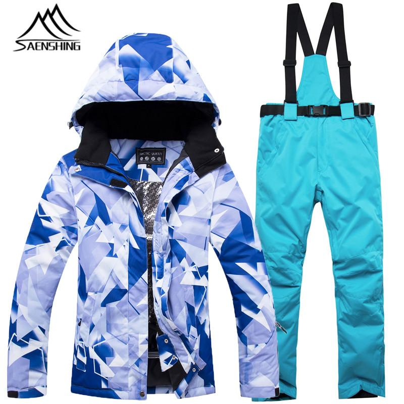 f4378a3a48 Ski Suit Women Jacket Snowboard Pants Waterproof Super Warm Windproof  Breathable Skiing Suit Female Colorful Suits Winter Skiing Jackets Cheap  Skiing ...