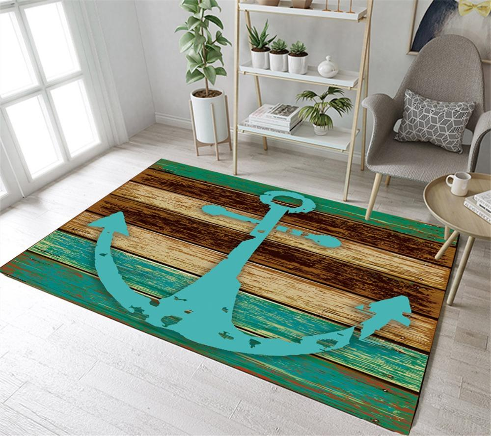 2018 Lb Nautical Anchor Rustic Wood Doormat Floor Mat Area Rugs