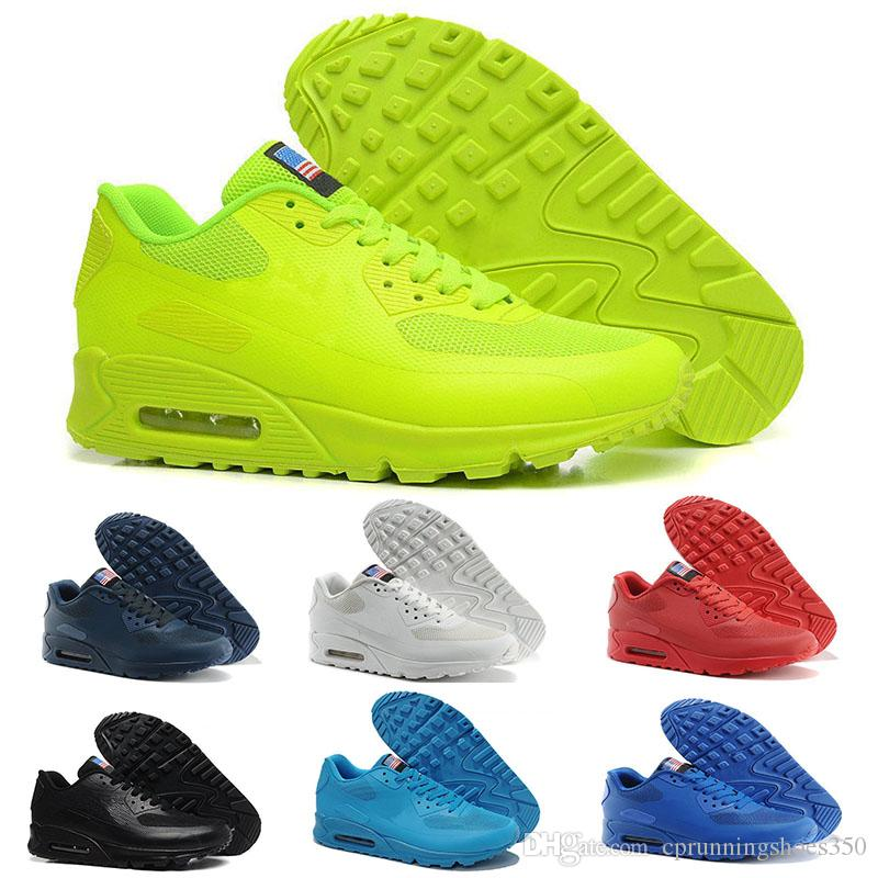 pretty nice 448ff 09922 Acheter Nike Air Max 90 Flag America 2018 New Hot Unisexe Hommes Femmes USA  90 Maxies P Américain FLAG Casual Chaussures Jour De L´Indépendance Avec ...