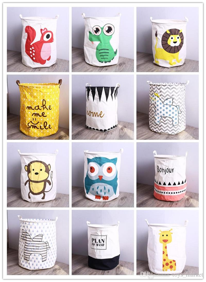Storage Baskets Bucket Kids Room Toys Clothing Canvas Bags Cartoon Striple Handle Organizer Laundry Bag 40*50cm