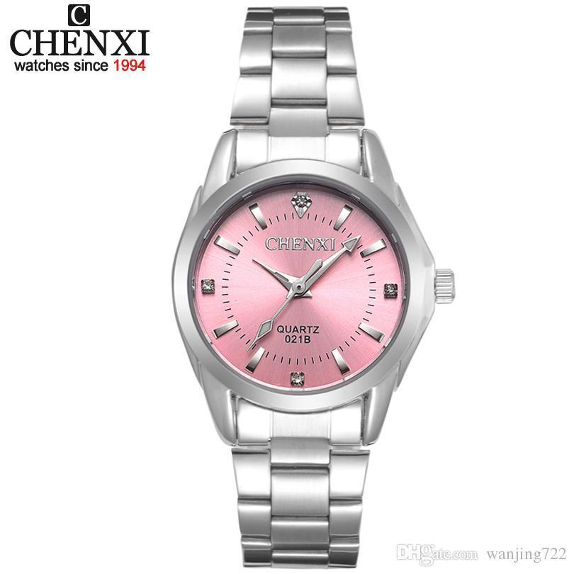 5610d28342d Compre Chenxi Marca 6 Cores Da Moda 021b Relógios Casuais Das Mulheres De  Luxo À Prova D  água Relógio Das Mulheres Moda Vestido De Strass De Quartzo  ...