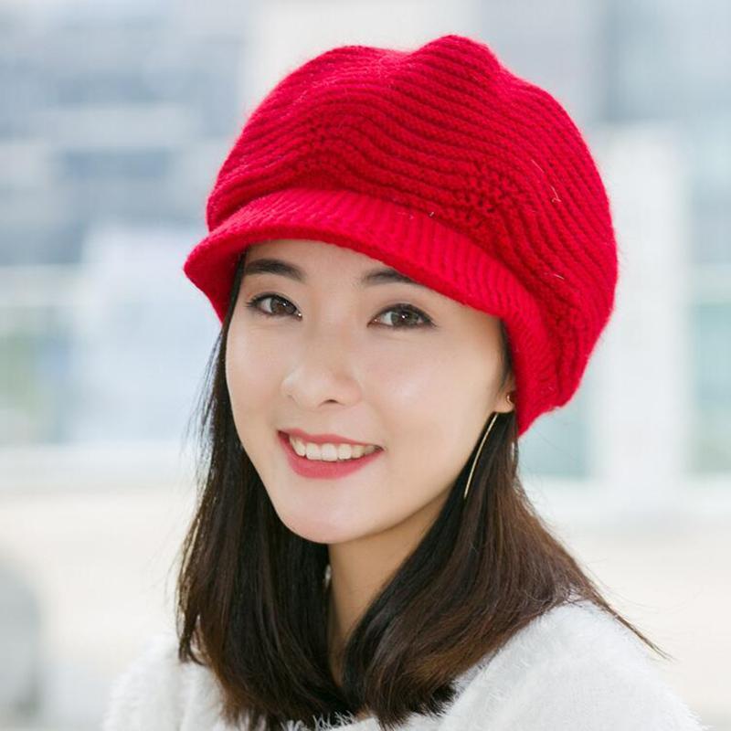Acquista SUOGRY Womens Beret Hats Crochet Knit Winter Hats Berretto Con  Visiera Vintage Berretti Di Pelliccia A Maglia Berretti Morbidi Visiera  Casual ... f89588e0d89e
