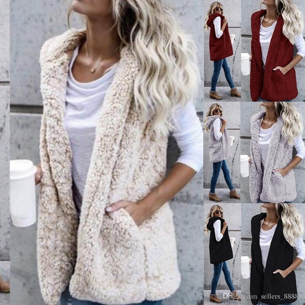 74c8143cb37f5 2019 Sexy Womens Vest Winter Warm Hoodie Open Stitch Outerwear Casual  Cardigan Coat Faux Fur Zip Up Sherpa Jacket Fashion Female Girls Clothes  From ...