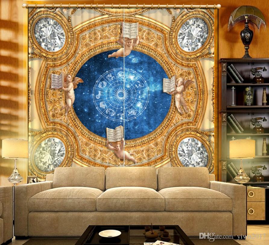 European Pattern Curtains Tende di lusso soggiorno Camera da letto moderna bambini Cortina di oscuramento