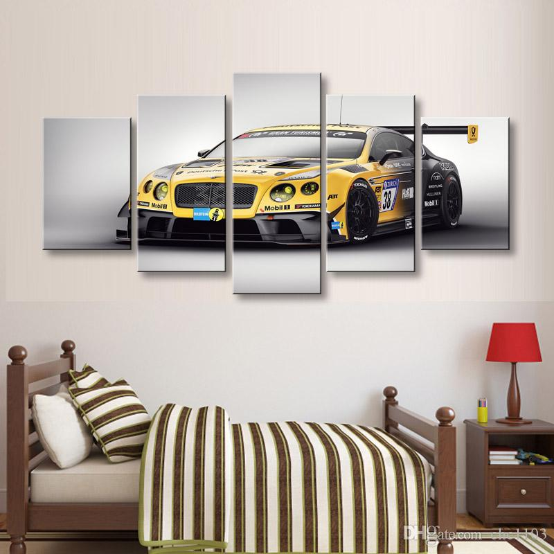 high-definition print Sports car canvas oil painting poster and wall art living room picture C5-050