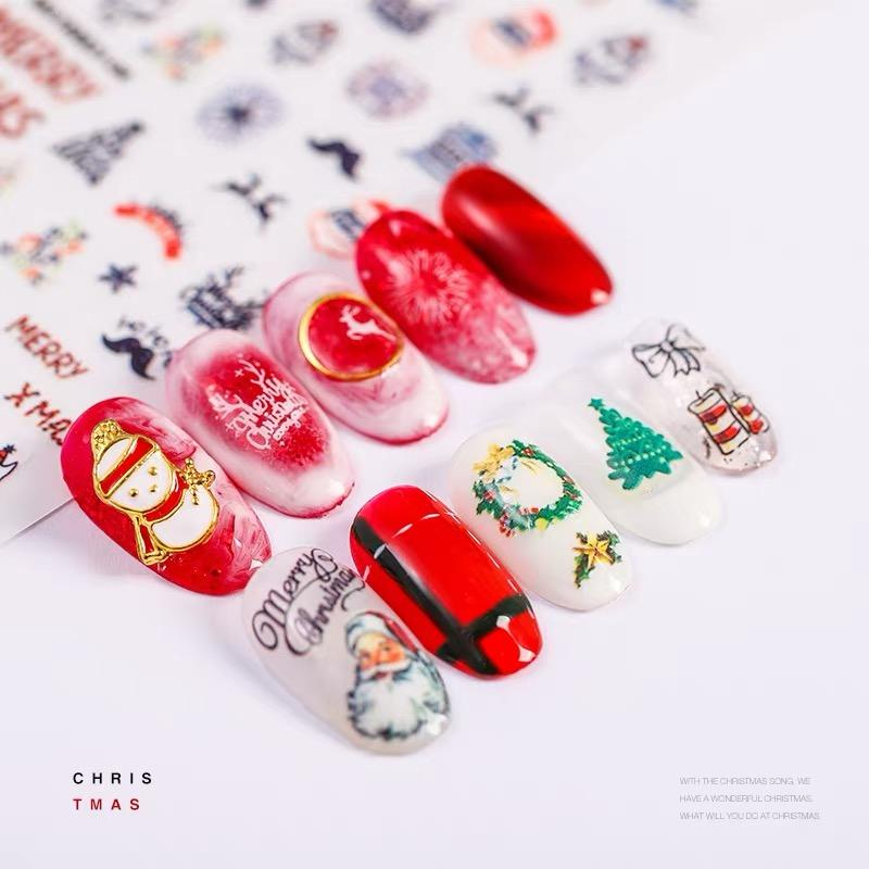 Newest Christmas Elk Letter Snowflake 3d Nail Art Sticker Nail Decal